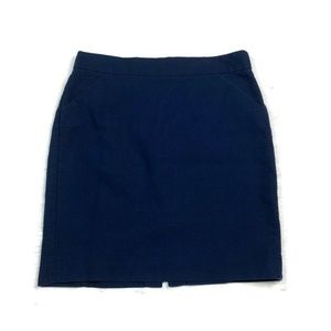 J Crew  The Pencil Skirt Navy Blue Cotton